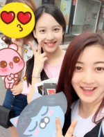 Nayeon and Jihyo with a fan 2