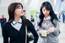 Nayeon and Jihyo at the airport
