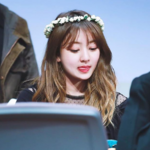 Jihyo wearing a flower crown