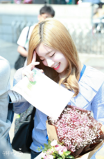 Dahyun receiving flowers on her birthday 2