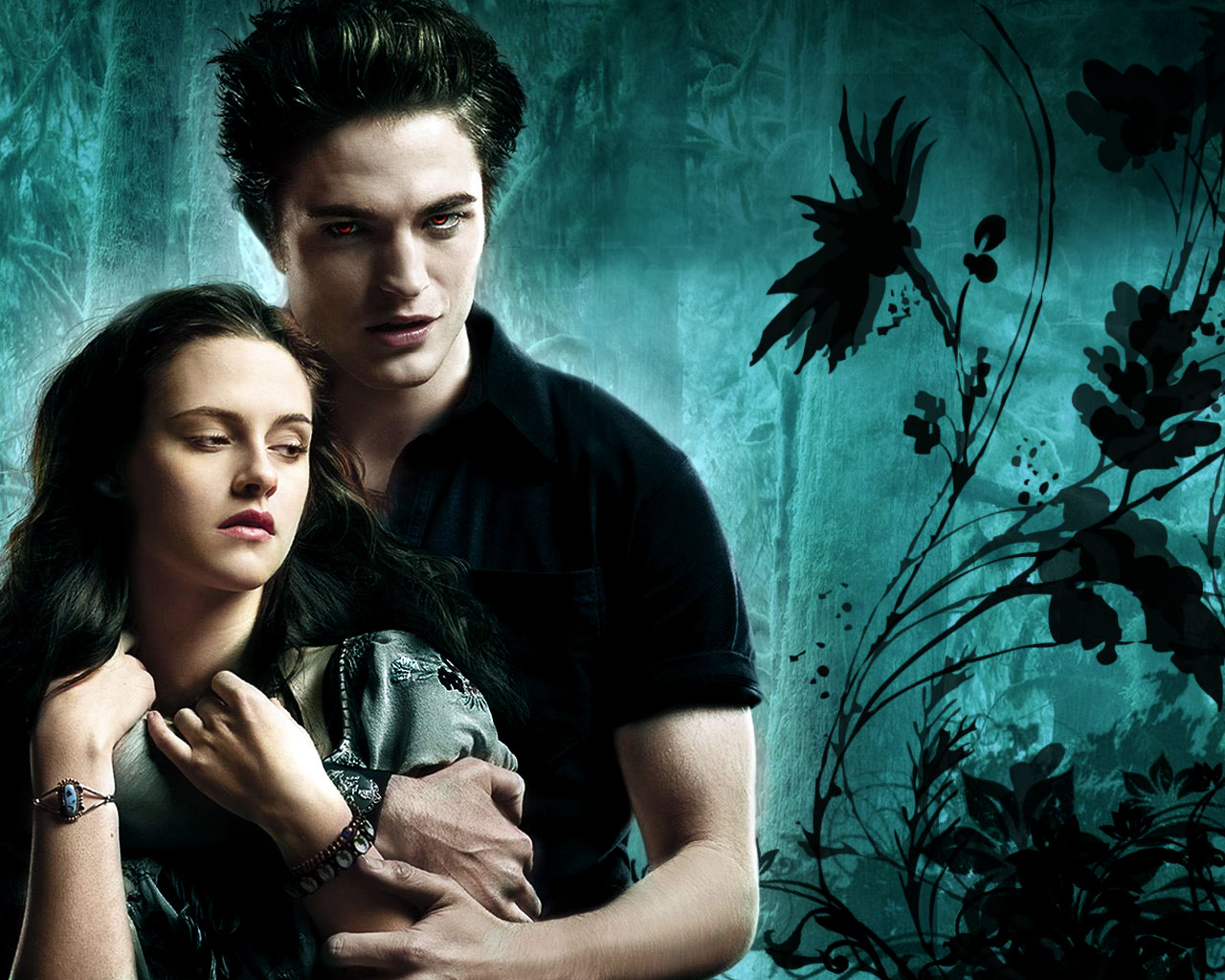 image - edward and bella twilight wallpaper cyan background