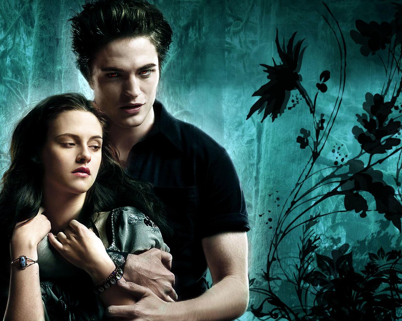 Edward And Bella Twilight Wallpaper Cyan Background