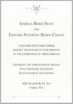 Invitation Mariage Edward Bella