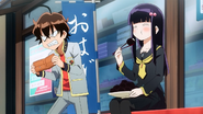 Benio eating ohagi anime