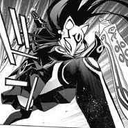 Benio full-equiping herself to fight Rokuro