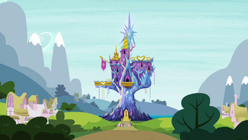 Mane 6 staring at the castle S4E26