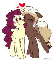 1304112 safe oc blushing lesbian pegasus earth pony kissing couple artist-colon-melodicmarzipan oc-colon-sweet mocha (1)