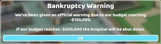 Bankruptcy Warning