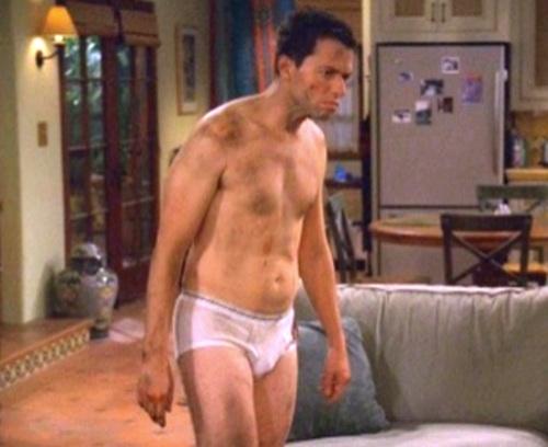 In his undies