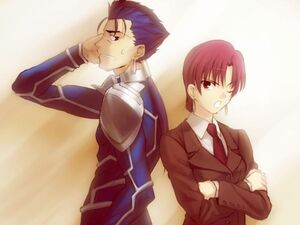 Fate Hollow Ataraxia Bazett and Lancer