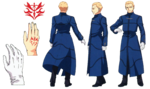 Hoja de personaje de Ufotable de Kayneth en Fate Zero