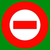 Red logo white center green bkgd