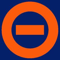 Orange logo dark blue bkgd