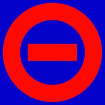 Red logo blue bkgd