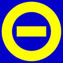 Yellow logo blue bkgd