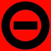 Black logo red bkgd