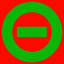 Dark green logo red bkgd