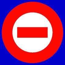 Red logo white center blue bkgd