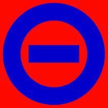 Blue logo red bkgd