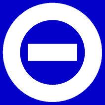 White logo blue bkgd