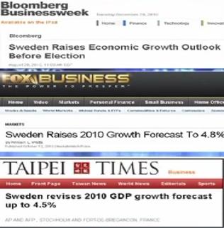 K De New-York à Tokyo, en passant par Londres et Taïwan, toutes les agences financières spécialisées soulignent la formidable récupération économique dont a fait preuve la Suède