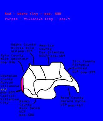 Map of Udaho and Udahoian County