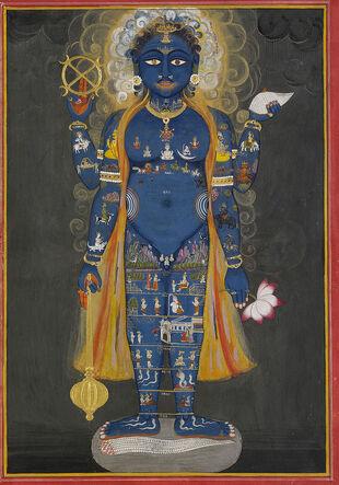 Vishvarupa of Vishnu as the Cosmic Man with the three realms: heaven - Satya to Bhuvar loka (head to belly), earth - Bhu loka (groin), underworld - Atala to Patala loka (legs)
