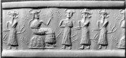 Sumerian reliefs of lords with bull-horned headdresses