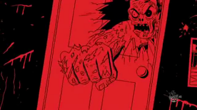 Zombie Randall punches through door