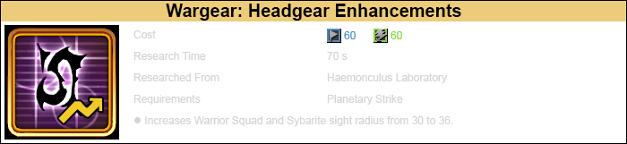 Research headgear enhancements 1 warrior