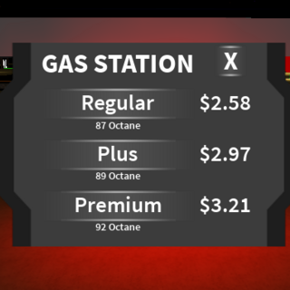 The gas station fuel type menu shown when you pull up to a gas pump