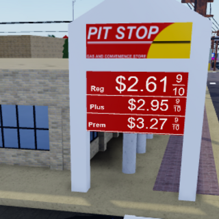The gas station pit stop prices sign