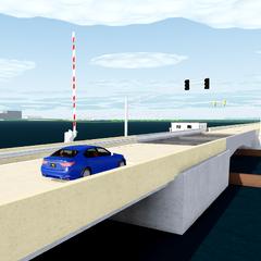 The functional drawbridge in <a href=