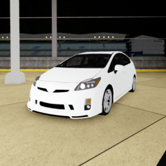 The prius gt with it's headlights on