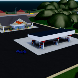The pit stop gas station with a rooftop