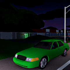 The Crown Victoria near some houses and a store plaza along the Delaware/Maryland border. (UD: Odessa)
