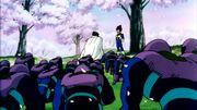 Paragus and his soldiers fake a bow before Vegeta
