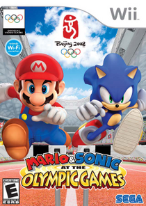 Image of Mario and Sonic jumping over a hurdle within a renderization of Beijing National Stadium