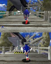 Top: Sonic runs from an orca that is chasing him in the original Dreamcast version of Sonic Adventure. Bottom: The same scene in Sonic Adventure DX, showing the graphical upgrades applied to the game.