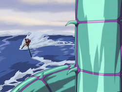 Aang fights the serpent