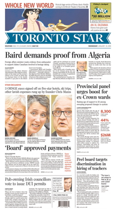 Toronto Star frontpage