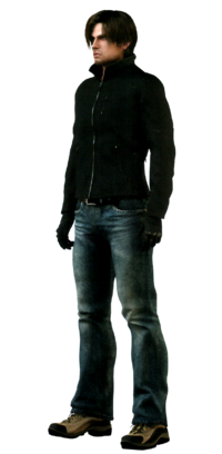 Biohazard Damnation artbook - Leon Scott Kennedy front full body portrait