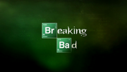 """A green montage with the name """"Breaking Bad"""" written on it—the """"Br"""" in """"Breaking"""" and the """"Ba"""" in """"Bad"""" are denoted by chemical symbols"""