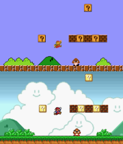 Top: the NES version of Super Mario Bros., depicting an area of World 1-1. Bottom: the Super Mario All-Stars version of Super Mario Bros., depicting the next area of the level. The latter is more detailed and takes advantage of the SNES's 16-bit hardware.