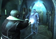 An image of a young man aiming his gun and flashlight at a hostile male figure wielding a large hook. The whole scene is marked by a bluish hue, giving the mansion environment an otherworldly feel.