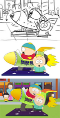 Montage showing the stages of an animation process: On top, a simple black and white sketch of a male child in a rocket kiddie-ride, while another young child stands next to the ride and reluctantly holds the rider's hand. In the middle, stock animation characters reflecting the sketch shown at top, sans background characters. At bottom, a screenshot of a fully animated frame showing the same event, complete with characters and arcade games in the background