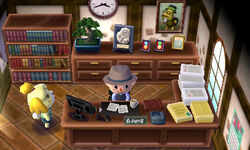 A player is seen in town hall, with Isabelle next to them.