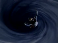 Dyna sucked into the wormhole