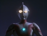 Ultraman before flies away