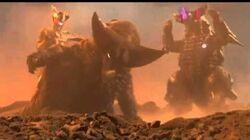 Gomora and Zero vs Mecha and Darklops